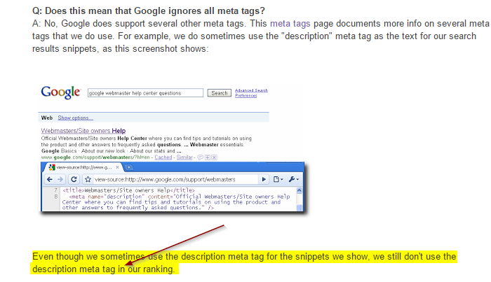Google announcement about Meta tags