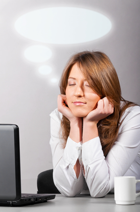 Woman is dreaming for blogging success