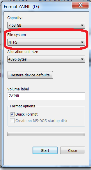 Format your flash drive with NTFS