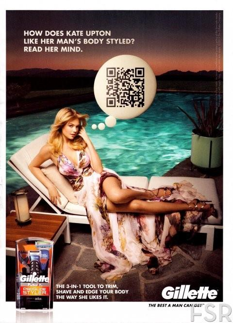 Gillette QR code campaign with Kate Upton