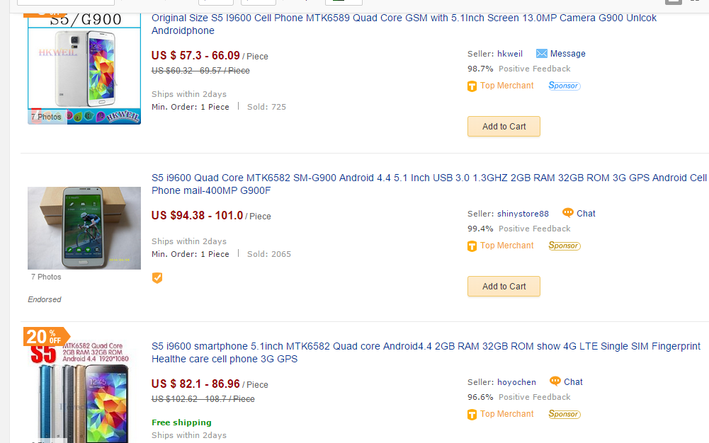 Android phone selection at Dhgate