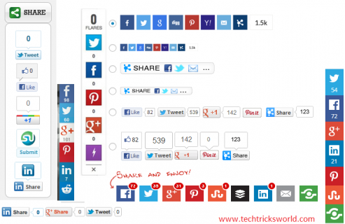 List of Free Social Share Buttons for WordPress Blogs
