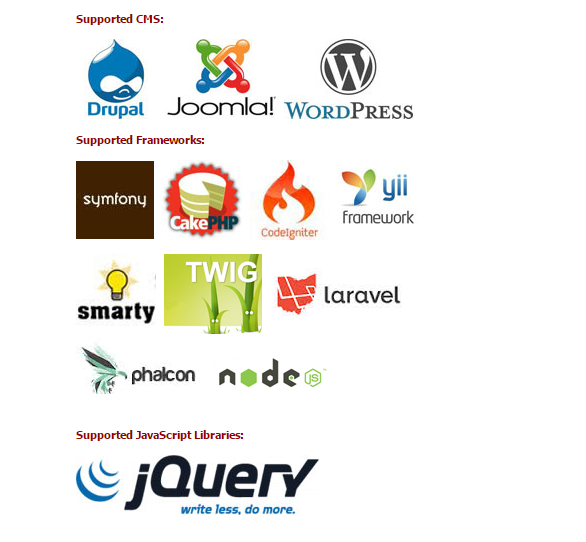 codelobster Supported CMS