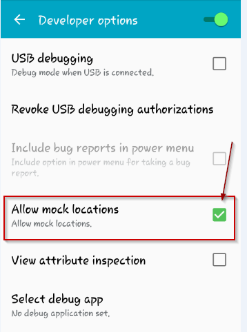 allow mock locations  developer options