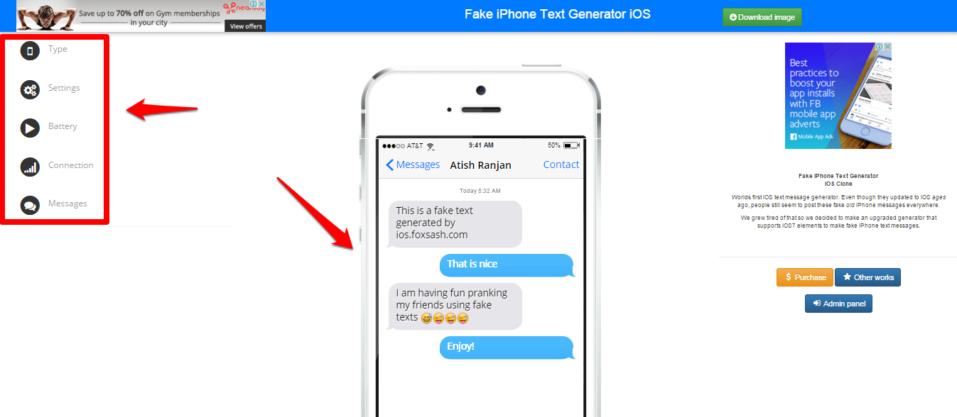 Text 6 Fake Iphone Tools Generator