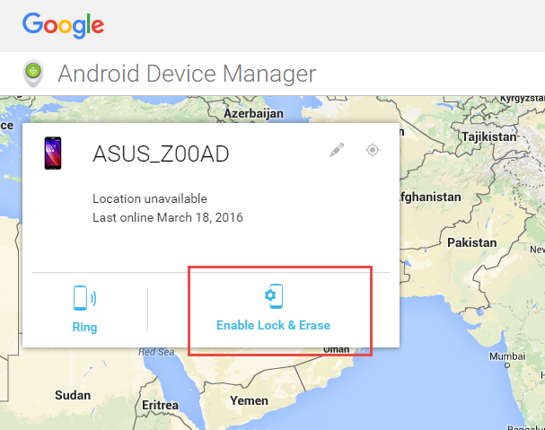 by erasing the phone data using android device manager