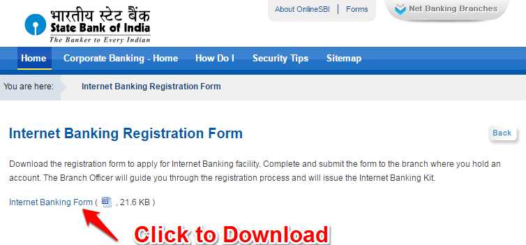 Registration form for SBI Net banking