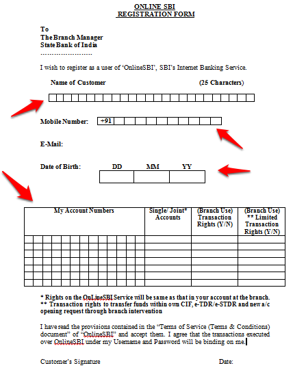 Form for netbanking SBI