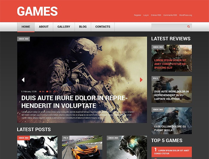 Game Responsive WordPress Theme for Games Portal