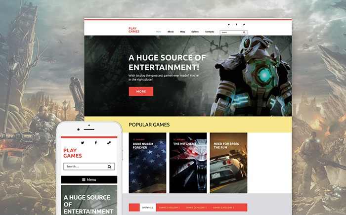 Play Games WordPress Template - a huge source of entertainment