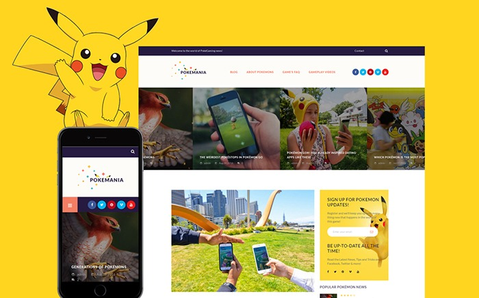 Pokemania WordPress Theme for a Game Portal Website