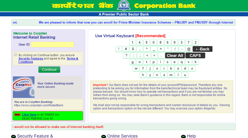 how to activate sms banking in corporation bank
