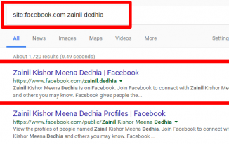 Google search for finding facebook profiles