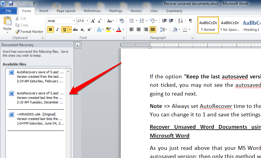 recovering word documents