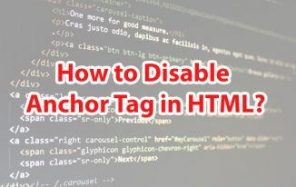 How to Disable Anchor Tag in HTML?