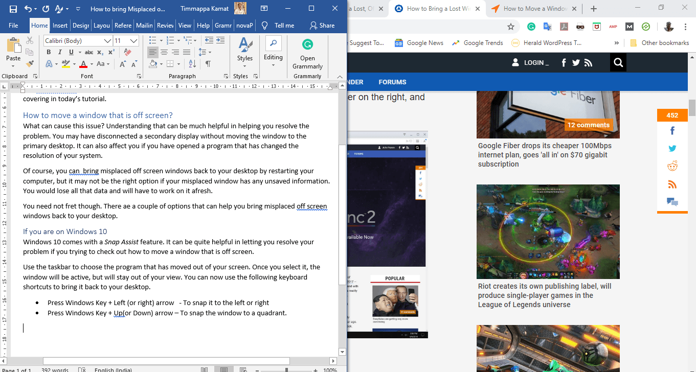 How to Bring Misplaced Off Screen Windows Back to Your Desktop?