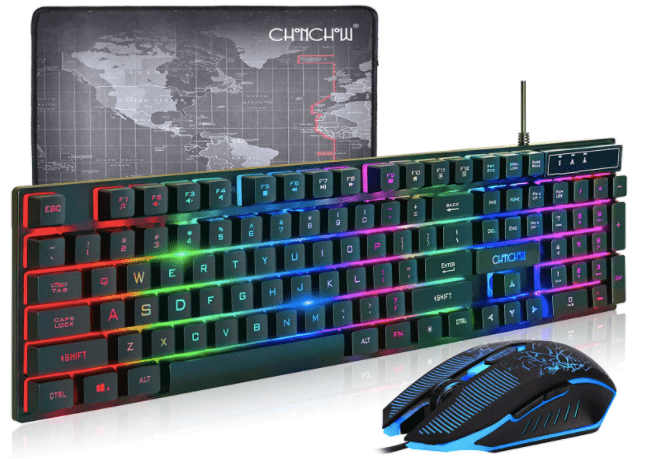 CHONCHOW LED Backlit Gaming Keyboard and Mouse Combo USB Wired Rainbow Gaming Keyboard-min