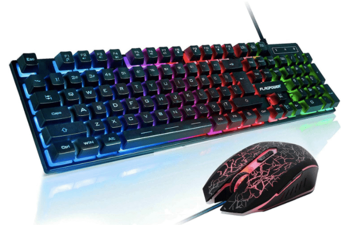 FLAGPOWER Gaming Keyboard and Mouse Combo, Rainbow Backlit Mechanical Feeling Keyboard with 4 Colors Breathing LED Backlight Mouse for PC Laptop Computer-min