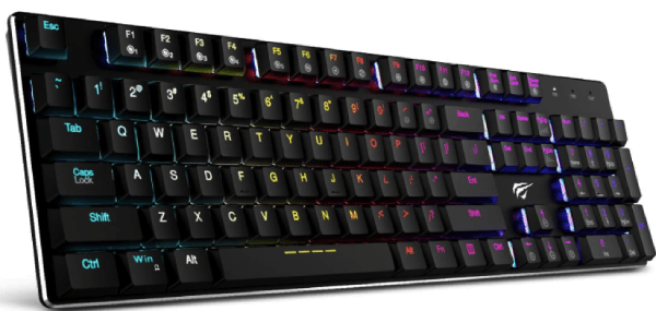 Mechanical Keyboard HAVIT RGB Backlit Wired Gaming Keyboard Extra-Thin & Light, Kailh Latest Low Profile Blue Switches, 104 Keys N-Key Rollover-min